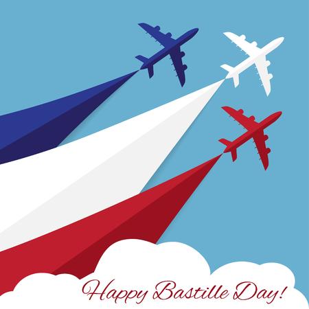 航空ショー: ハッピー フランス革命記念日。フランスの独立記念日  イラスト・ベクター素材