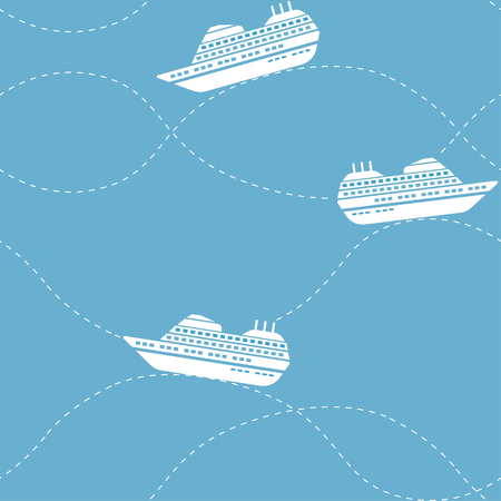 Seamless nautical pattern with ships Illustration
