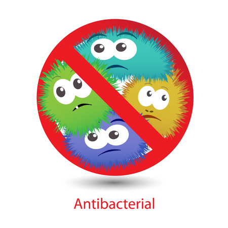 Antibacterial sign with a funny cartoon bacteria. Stock Illustratie