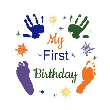 My first birthday concept. Colorful footprint and hand print vector illustration isolated on white.