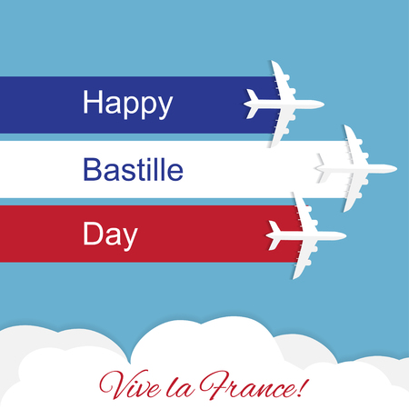 Vector greeting card with airplanes 14th July Bastille Day. Independence Day of France 向量圖像