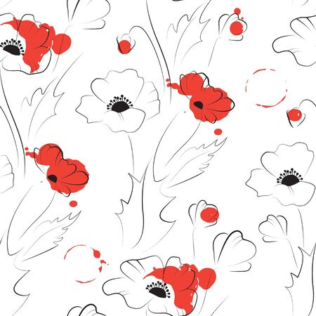 Poppy seamless pattern 向量圖像