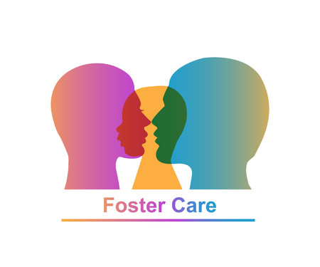 Illustration of three colorful heads with Foster Care lettering on a white background Ilustração