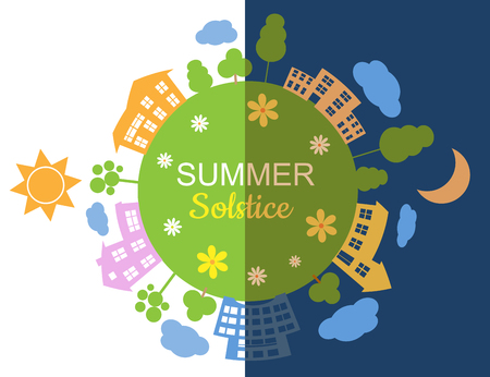 summer solstice day and night concept Vector illustration.