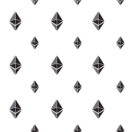 Seamless pattern background with ethereum signs