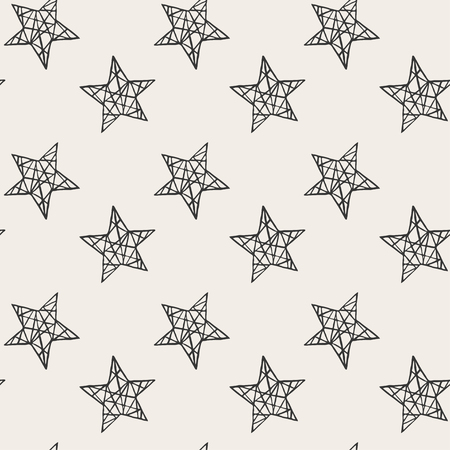 Seamless stars pattern. Hand drawn abstract background in vector format. Monochrome grunge style