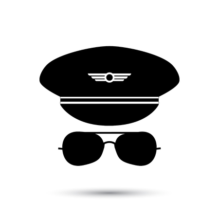 Pilot black icon silhouette. Vector illustration. Isolated on white