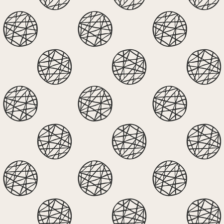 Seamless pattern with sketch black circles in vector format. Monochrome childish pattern. Grunge style Ilustração