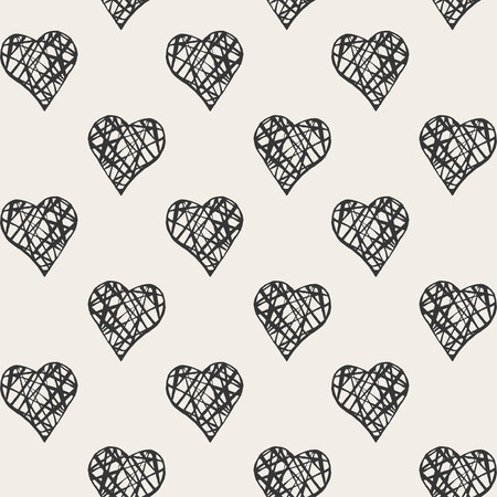 Vector seamless pattern. Stylish print with hearts