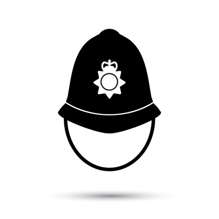 British police helmet icon vector illustration isolated on white Stock Illustratie