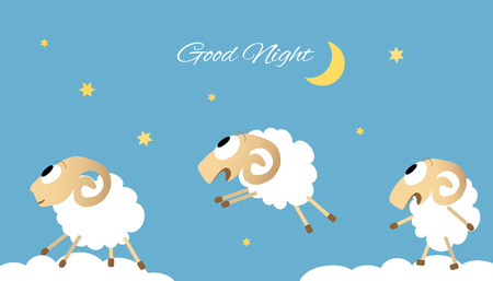 Three jumping sheep vector illustration. Good night concept