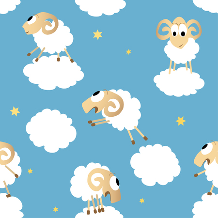 Seamless pattern with cute funny sheep. Vector background with clouds. Good night concept Ilustração
