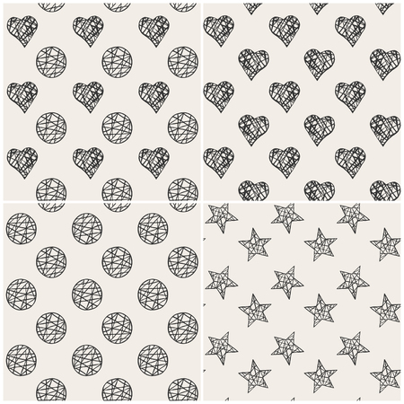 Vector seamless pattern set. Stylish print with hearts, stars and circles.
