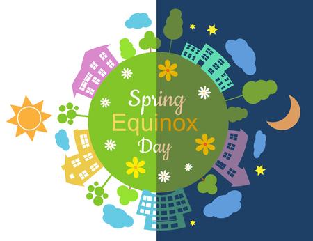 Equinoxe de printemps demi-journée demi-nuit, illustration vectorielle. Vecteurs