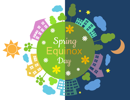 Spring equinox half day half night, vector illustration. 向量圖像