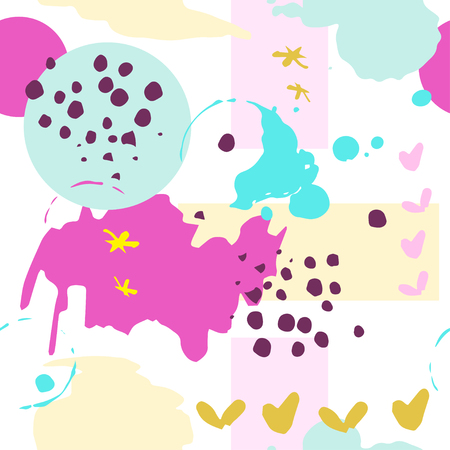 Abstract background with geometric colorful shapes. Seamless pattern with ink hand drawn dots hearts and stars Ilustração