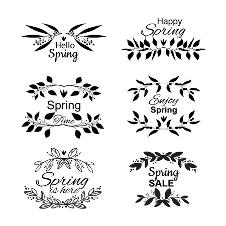 Spring lettering set with decorative elements Ilustração
