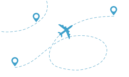 Airplane line path, icon of air plane flight route with start point and final point