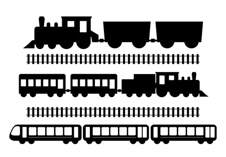 Set of trains, vector illustration isolated on white Ilustração