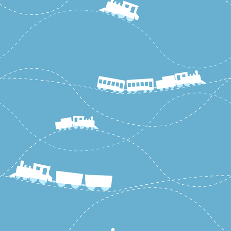 Seamless flat cartoon vector pattern with retro locomotive
