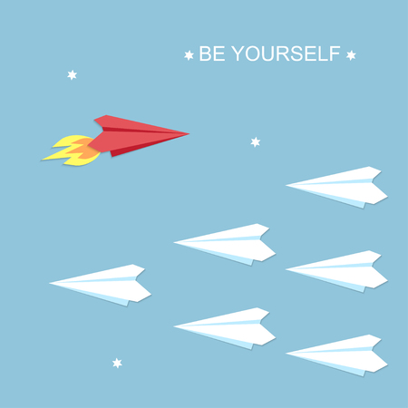Be yourself concept. Red and white airplanes vector illustration