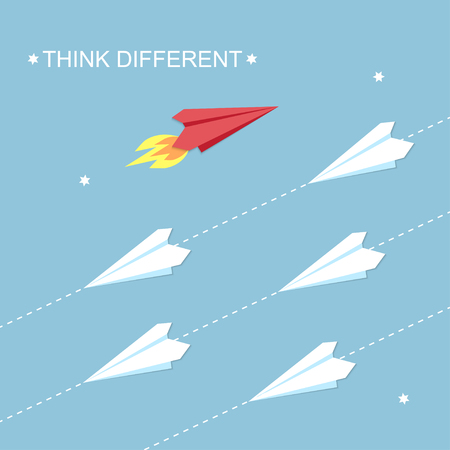 Think different concept. Red and white airplanes vector illustration