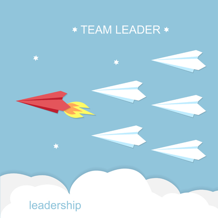 Leadership, team leader concept. Red and white airplanes vector illustration 向量圖像