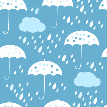 Seamless pattern with clouds, umbrella and raindrops. Vector illustration.