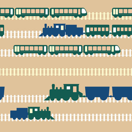 Seamless flat colorful cartoon vector pattern with train road Ilustração