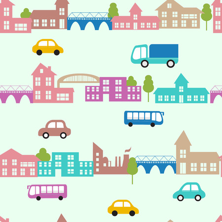 Seamless vector pattern with small cars and houses. City flat background