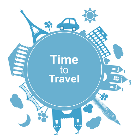 Time to travel, concept. Flat icon modern design style poster. Travel banner vector illustration 向量圖像