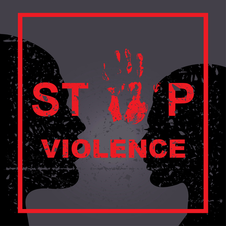 Stop violence hand sing concept. Vector illustration