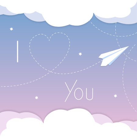 I love you card. Cartoon paper airplane background with heart and clouds illustration in vector format. Ilustração