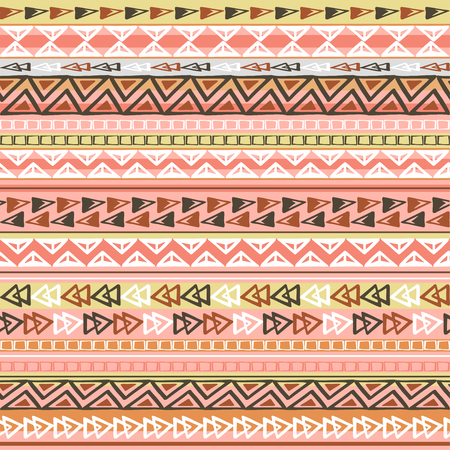 Colorful ethnic triangle seamless pattern design with strips Ilustração