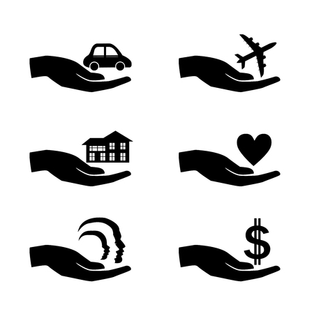 Insurance hand icons set. Vector Illustration. 向量圖像