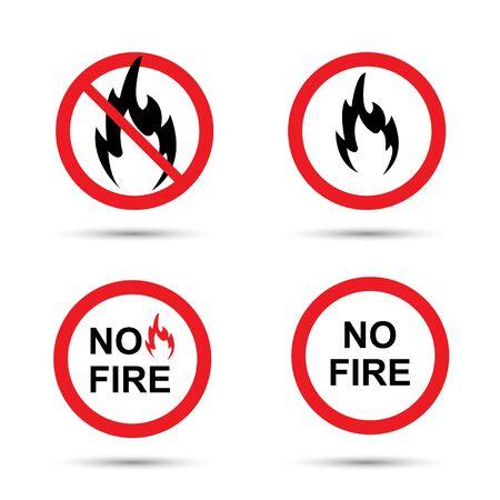 No fire sign set. Vector illustration isolated on white Illusztráció