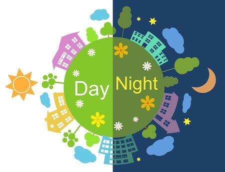 Half day half night illustration
