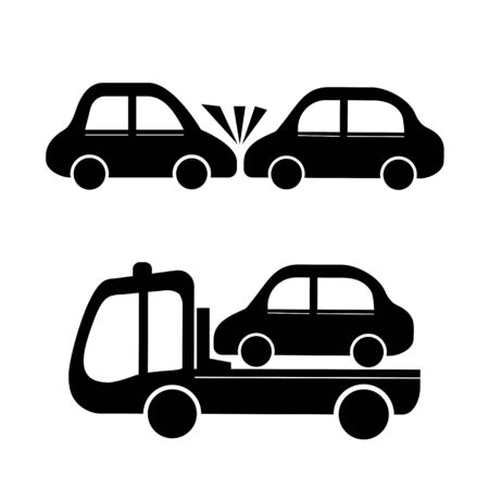 Car crash and car towing truck icon Illustration