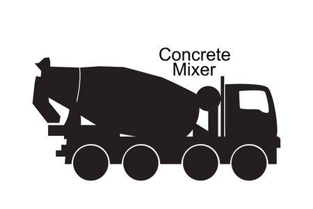 Betonmischer LKW schwarze Silhouette. Vektor-Illustration isoliert auf weiß