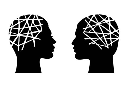 Mental health concept. Man and woman head