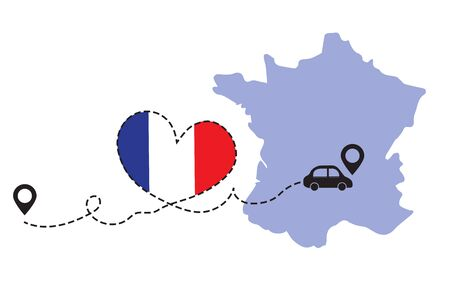 Travel to France by car concept