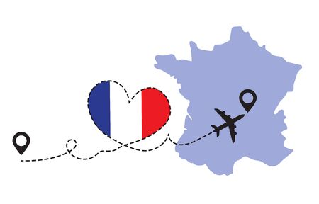 Travel to France by airplane Illustration