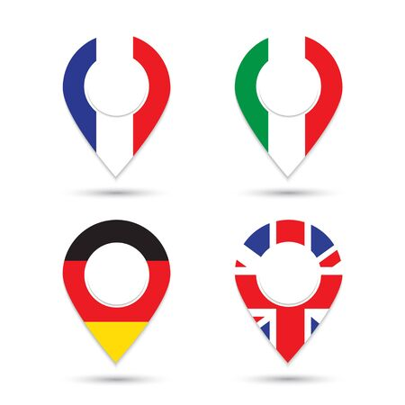 Germany Italy France UK flags geolocation sign