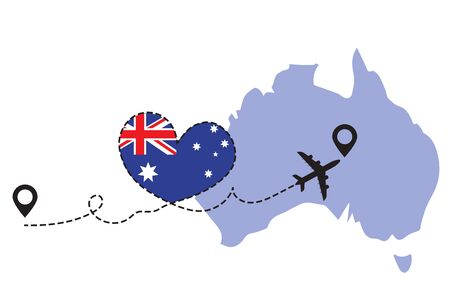 Travel to Australia by airplane concept. I love Australia vector illustration