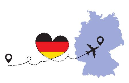 Travel to Germany by airplane concept. I love Germany vector illustration