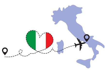 Travel to Italy by airplane Illustration
