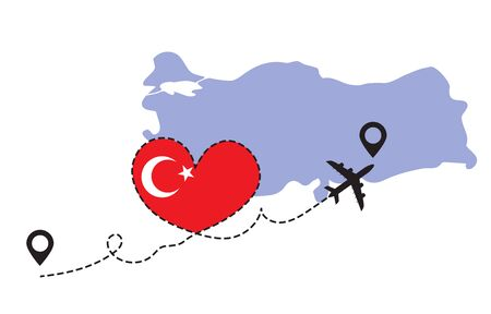 Travel to Turkey by airplane concept. I love Turkey vector illustration Illustration