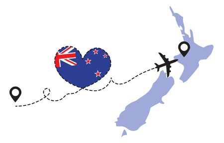 Travel to New Zealand by airplane concept. I love New Zealand vector illustration