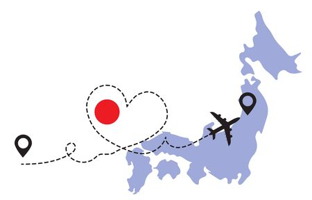 Travel to Japan by airplane concept. I love South Korea vector illustration