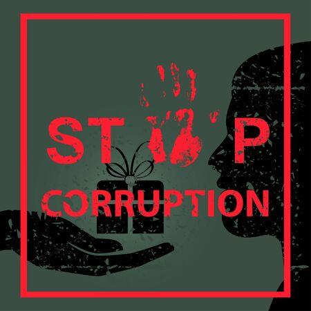 Stop corruption sign concept